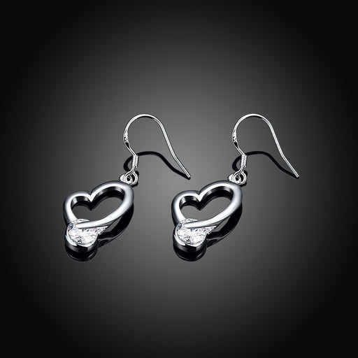 Earrings 18K White Gold Plated Heart Shaped Drop with Crystal Stone