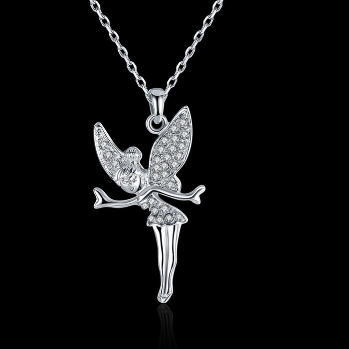 Necklace White Gold Plated Crystal Fairy