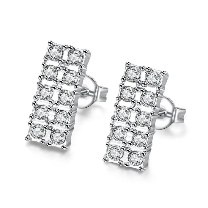 Earrings 18K White Gold Plated Geometric Simulated Diamond Studded