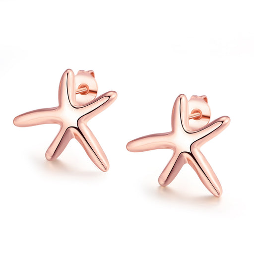 Earrings 18K Rose Gold Plated Starfish Studded