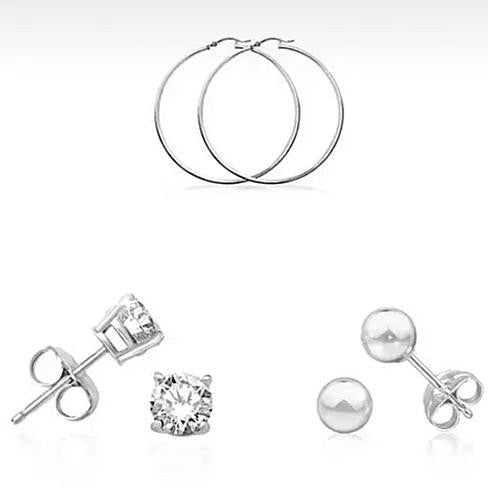 Earrings Sterling Silver Plated Essentials - Set of 3 pairs