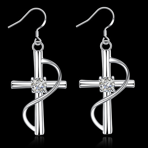 Earrings 18K White Gold Plated Abstract Curved Cross