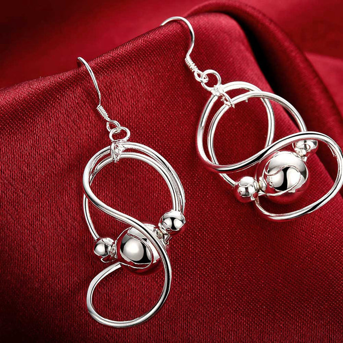 Earrings 18K White Gold Plated Abstract Curved Circular Drop