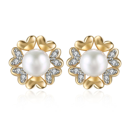 Earrings Swarovski Crystal 18K White Gold Plated Heart Pearl Stud