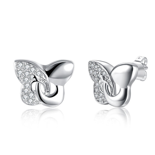 Earrings 18K White Gold Plated Modern Twist To The Classic Butterfly