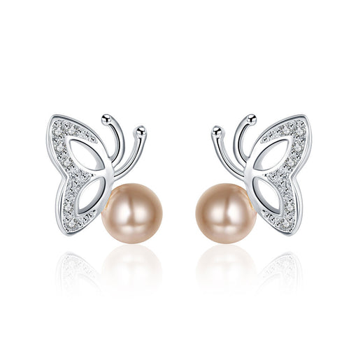 Earrings 18K White Gold Plated Wings & Coral Pearl