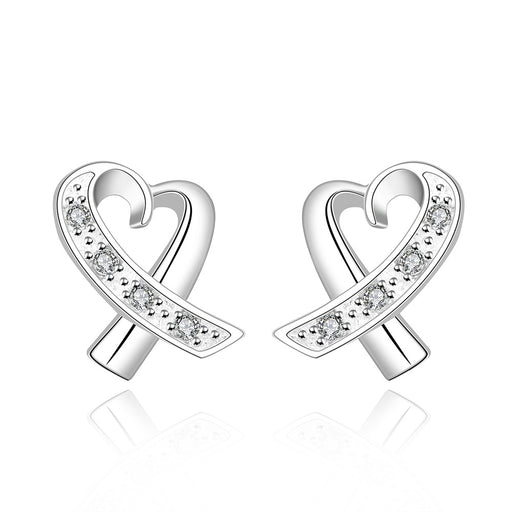 Earrings 18K White Gold Plated Infinite Heart Shaped