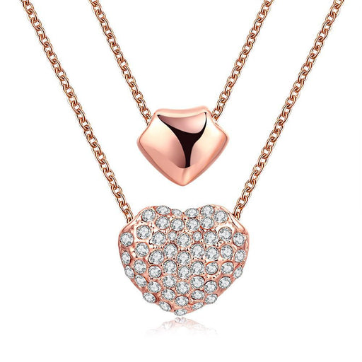 Necklace 18K Rose Gold Plated Double Heart