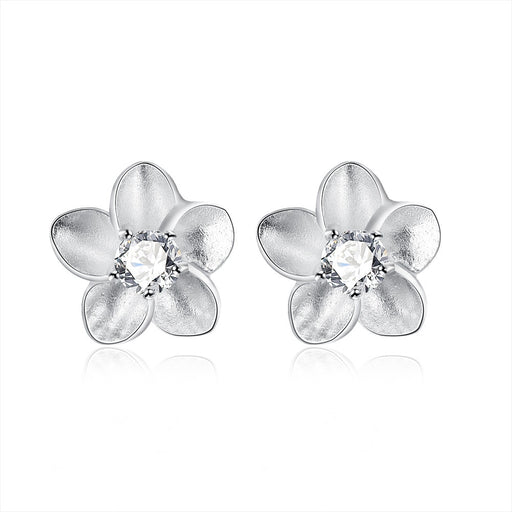 Earrings 18K White Gold Plated Blossoming Ivory Floral