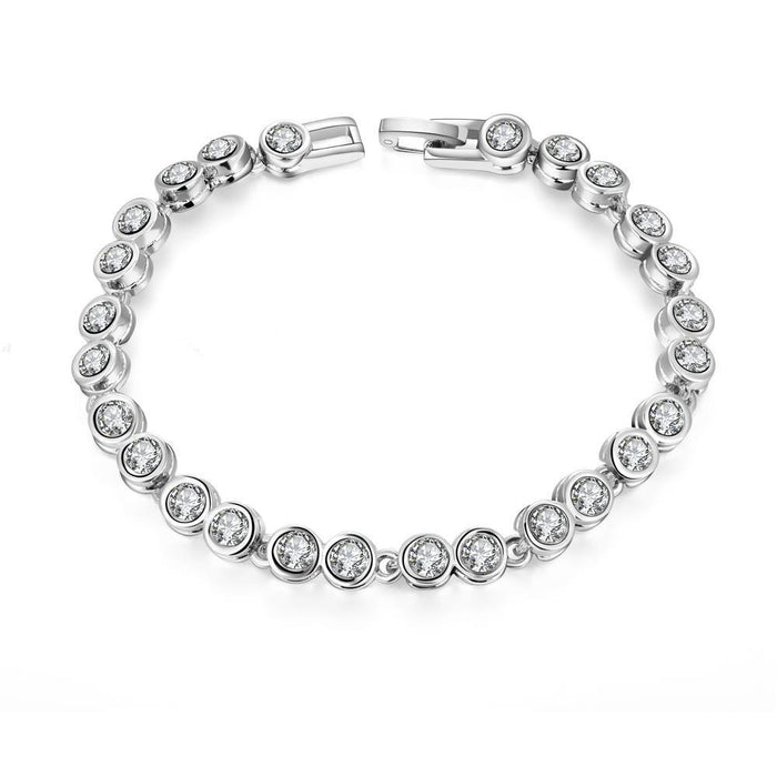 Bracelet 18K White Gold Plated Around the World