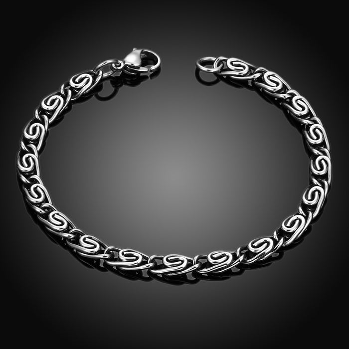 Mens Bracelet Stainless Steel Roman Inspired Ingrained