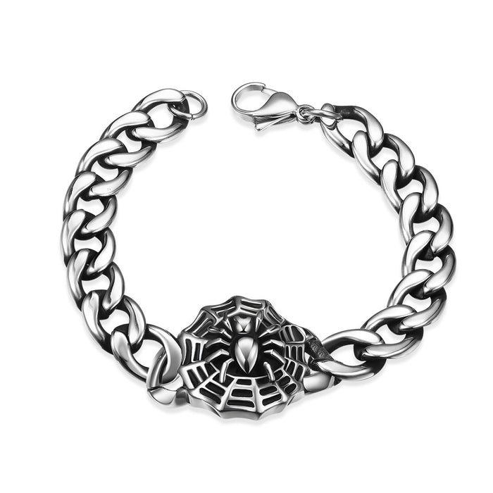 Mens Bracelet Stainless Steel Spider Web Emblem