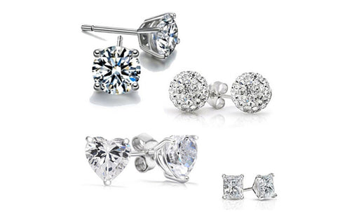 Earrings White Gold Plated Swarovski Crystal Stud Set 4 Piece