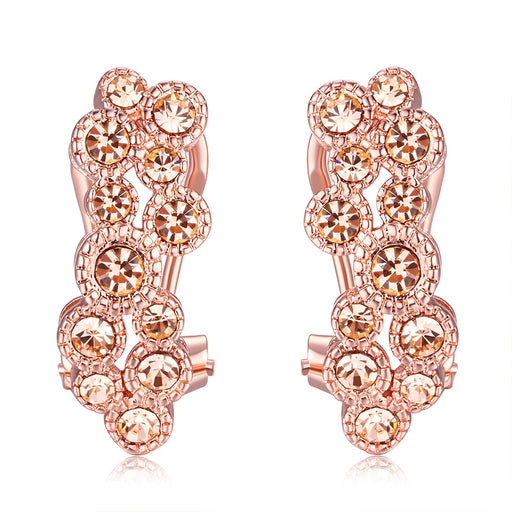 Earrings Rose Gold Plated Flower Clip