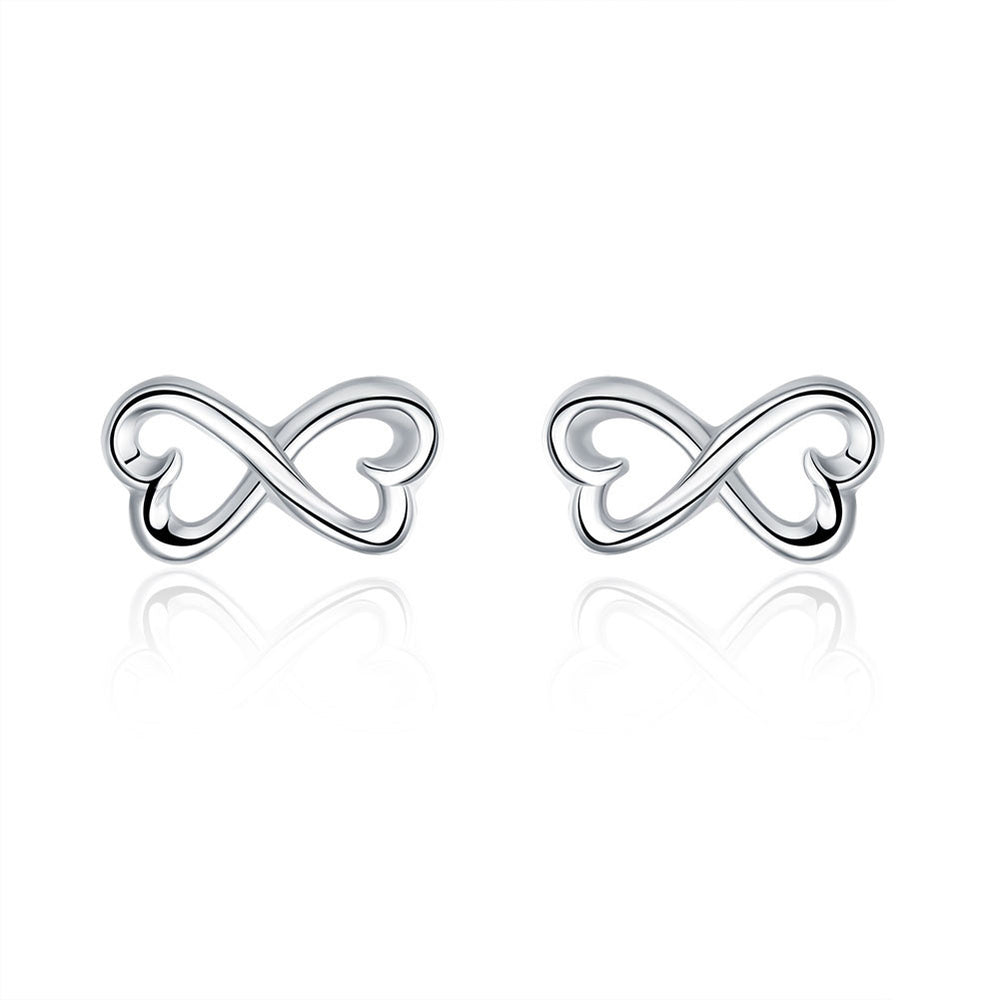 Earrings 18K White Gold Plated Infinite Shaped