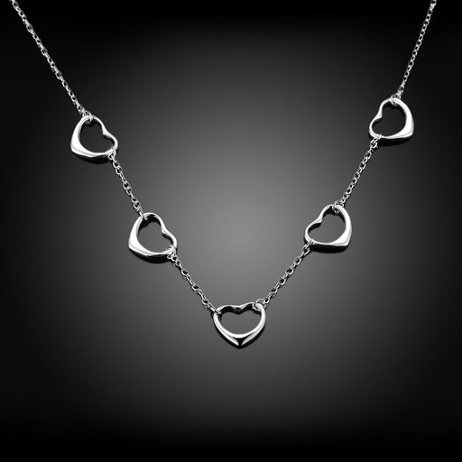 Necklace 18K White Gold Plated with 5 Connecting Hearts