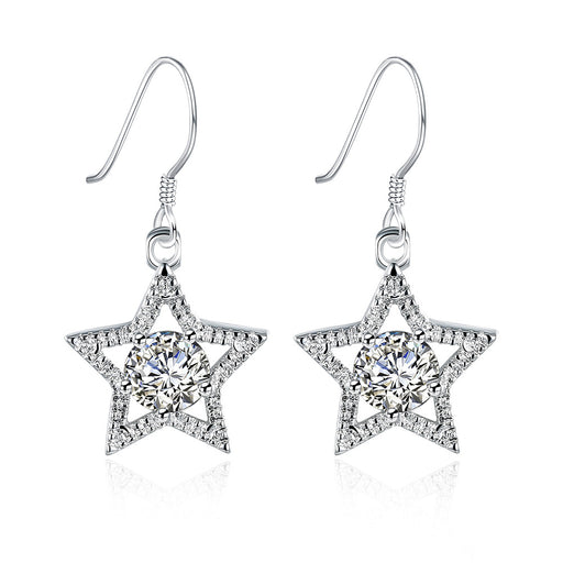 Earrings 18K White Gold Plated Star Shape with Crystal Inlay