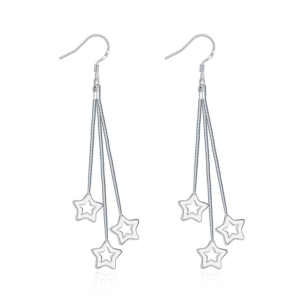 Earrings 18K White Gold Plated Multi-Stars Drop