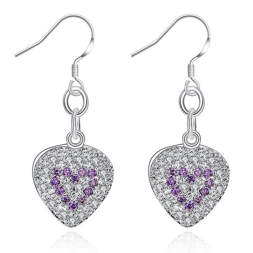 Earrings 18K White Gold Plated Heart Shaped Drop with Sapphire Insert