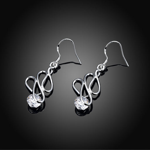 Earrings 18K White Gold Plated Abstract Circular Drop