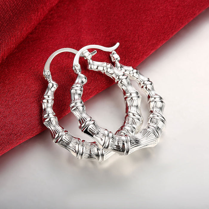 Earrings 18K White Gold Plated Curved Abstract Hoops