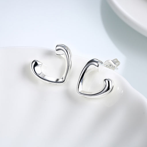 Earrings 18K White Gold Plated Hollow Hearts Open-Clasp Studs