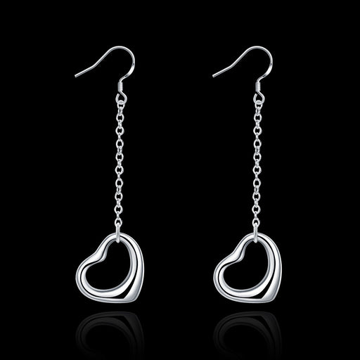 Earrings 18K White Gold Plated Hollow Heart Shaped Drop
