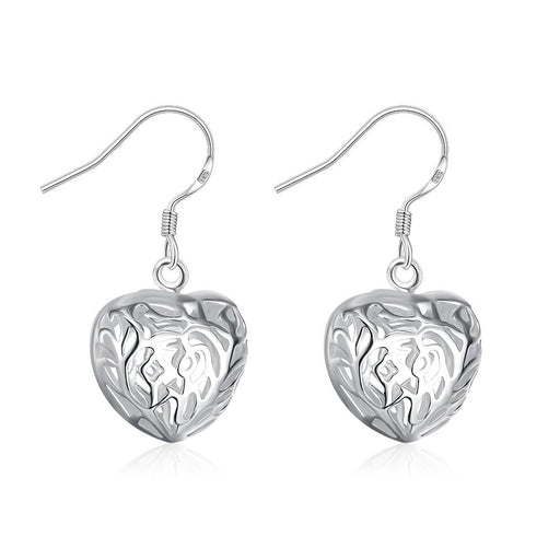 Earrings 18K White Gold Plated Laser Cut Heart Shaped Drop