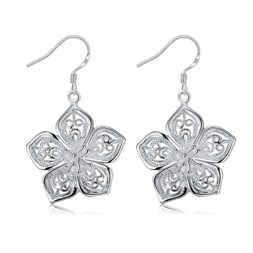 Earrings 18K White Gold Plated Drop Laser Cut Floral
