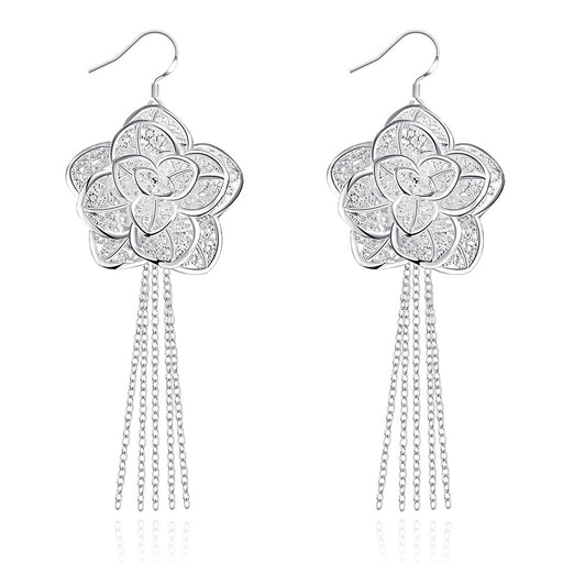 Earrings 18K White Gold Plated Drop Floral Petal