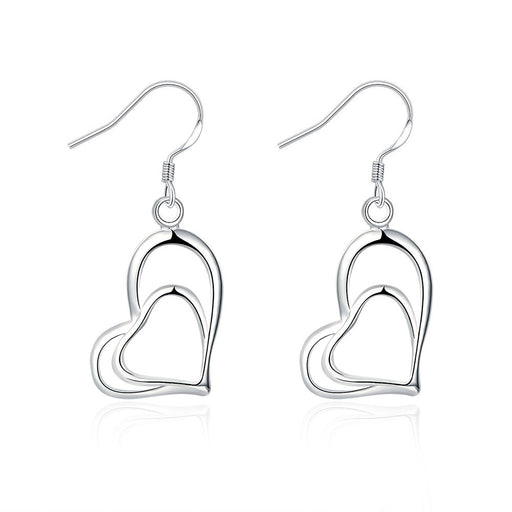 Earrings 18K White Gold Plated Trio-Hearts Drop