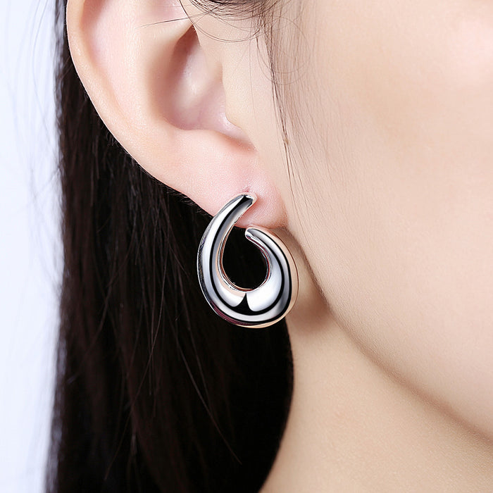 Earrings 18K White Gold Plated Abstract Angular Hoops