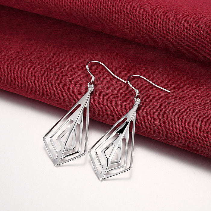 Earrings 18K White Gold Plated Laser Cut Triangular Drop