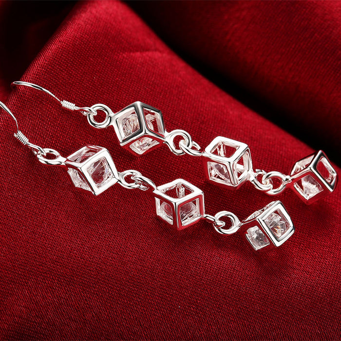 Earrings 18K White Gold Plated Drop Rubix Cube