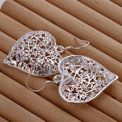 Earrings 18K White Gold Plated Filigree Heart Shaped