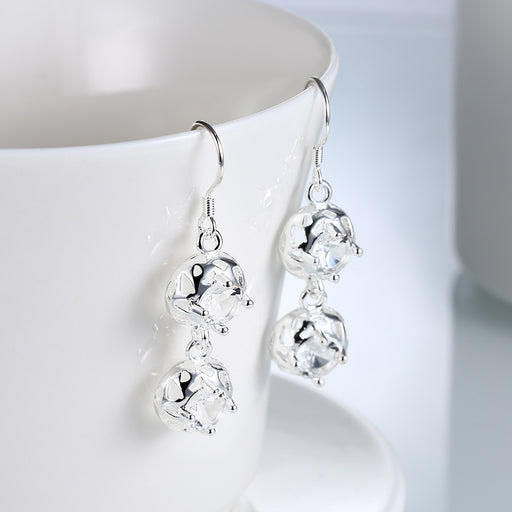 Earrings 18K White Gold Plated Laser Cut Duo-Balls Drop