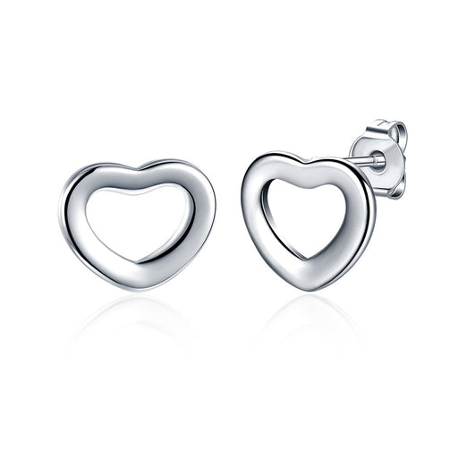 Earrings 18K White Gold Plated Heart Shaped Stud