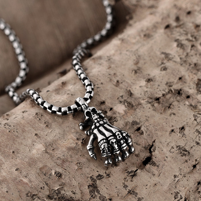 Mens Necklace Stainless Steel Five Fingers Skull Emblem