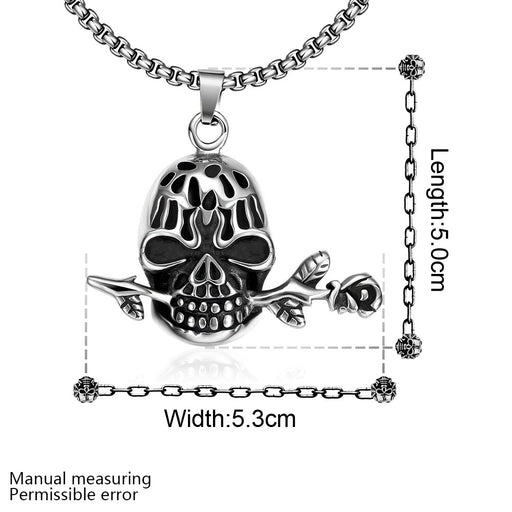 Mens Necklace Stainless Steel Skull Rose Emblem