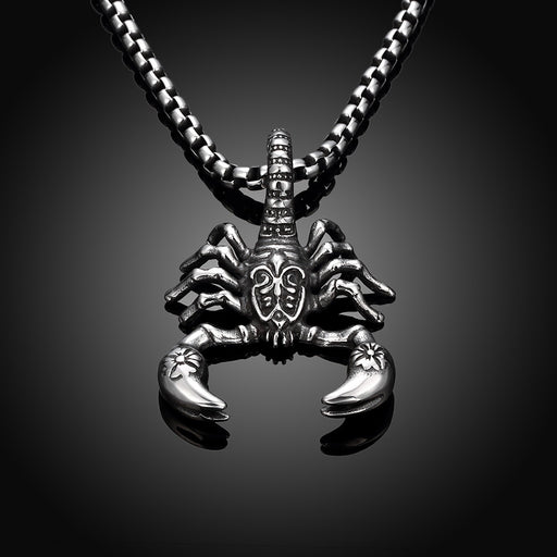 Mens Necklace Stainless Steel Scorpion Emblem