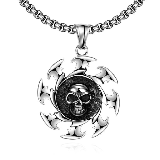 Mens Stainless Steel Necklace Skull Blade