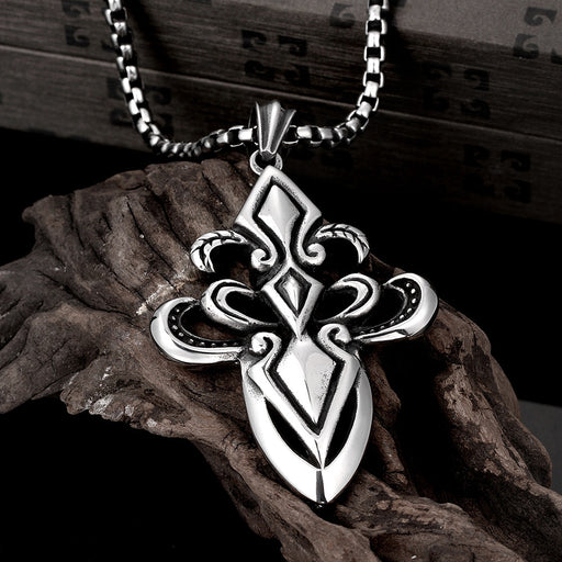 Mens Necklace Stainless Steel Hollow Cross