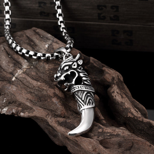 Mens Necklace Stainless Steel Mock Ivory Shark Tooth