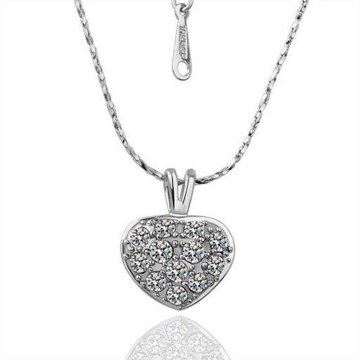 Necklace White Gold Plated Petite Heart with Crystal Jewels
