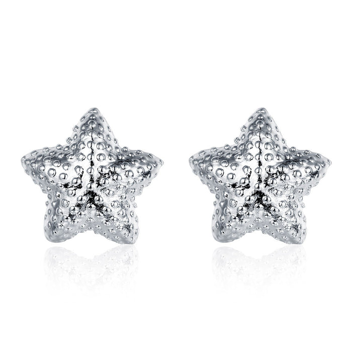 Earrings 18K White Gold Plated Beaded Starfish Stud