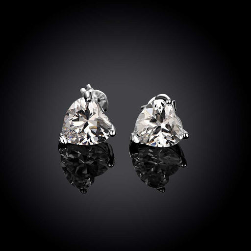 Earrings 18K White Gold Plated Heart Shaped Crystal Stud