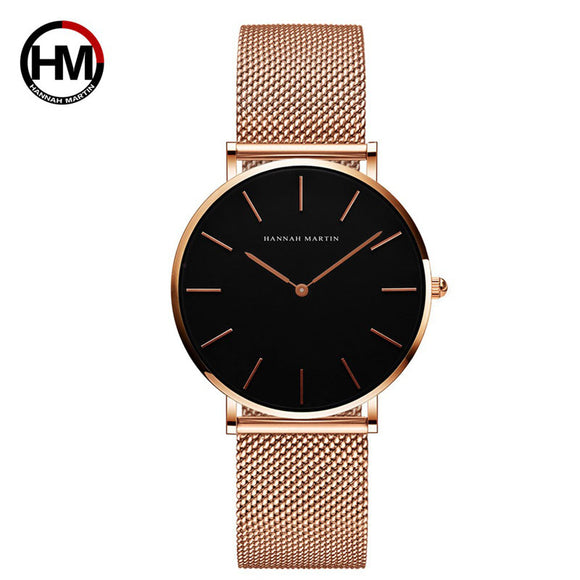 Japanese movement stainless steel mesh with electroplating waterproof watch