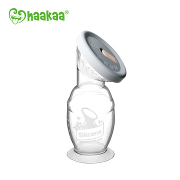 Haakaa 100ml Silicone Breast Pump with Suction Base & Silicone Cap Combo
