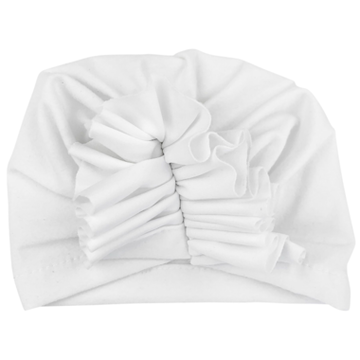 Baby Wisp Ruffles Infant Headwrap Hat White
