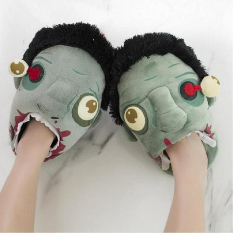 Pair Plush Funny Zombie Slippers